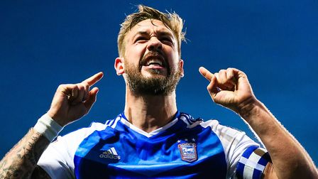 Skipper Luke Chambers celebrates after Tom Lawrence had scored to give the home side a 3-0 lead agai