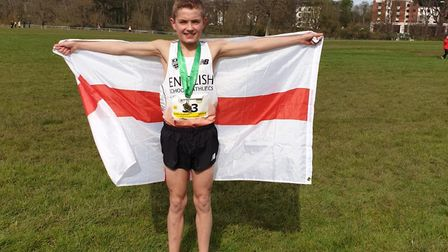Lewis Sullivan with the England flag after his victory in Dublin on Saturday. Picture: CONTRIBUTED