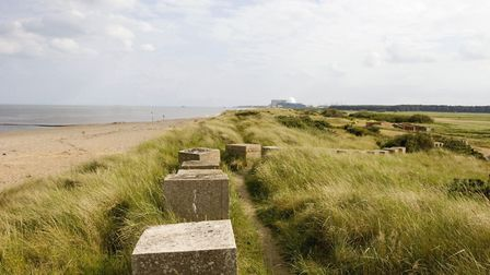 World War ll defences and dunes on Minsmere seafront with Sizewell B in the background Picture: Davi
