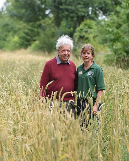 Professor Martin Wolfe and Dr Jo Smith of Wakelyns Agroforestry at a Hodmedod's open day on his farm