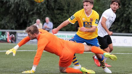 AFC Sudbury's Callum Harrison, on target at Grays. Picture: CLIVE PEARSON