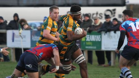 Tui Uru, battling through the Rams' defence, will play in the centre for Bury St Edmunds at Clifton
