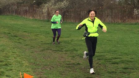 Runners relishing the windswept conditions along the grassy 5K course at last Saturday's Thurrock pa