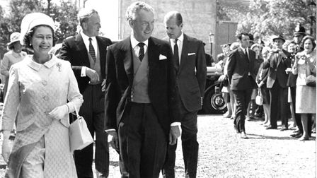 The re-opening of Snape Maltings Concert Hall on June 5 1970. The Queen is seen with Benjamin Britte