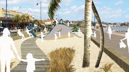 An artist's impression of how part of the revamped Felixstowe gardens could look Picture: SUFFOLK CO