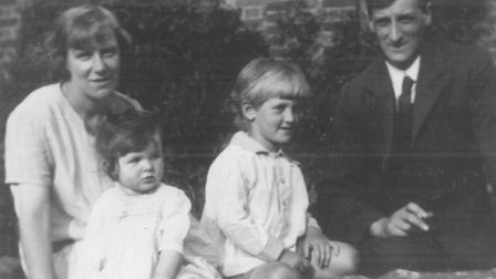 A 1929 photograph of Margaret Thick as a toddler with brother Lawrie (father of Sylvia and her siste