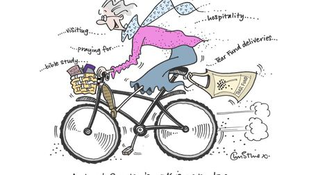 Christine Clements's cartoon of the game and busy Margaret Thick Picture: Christine Clements