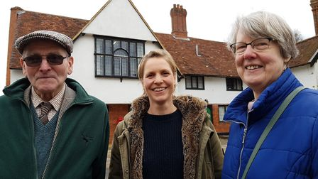 From left to right: Frank Rowe, history recorder, Screen Suffolk film officer Rachel Aldridge and ch