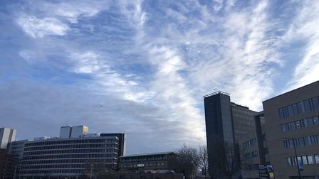 The sky over Ipswich on synday, March 31, as Suffolk enjoys a run of cool, clear weather Picture: AR