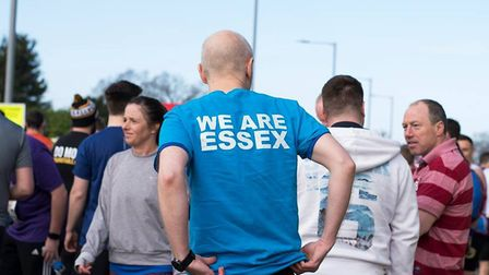 People gathered at Colchester United FCs ground ahead of the half marathon. Picture: BEN SUTTON