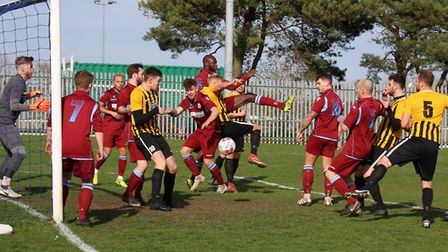 Goalmouth action between Thetford and Stowmarket. Picture: DAWN MATTHEWS