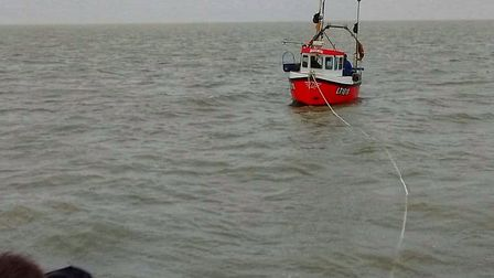 The RNLI rescued the crew of two off the coast of Aldeburgh, Suffolk, after their engine died Pictur