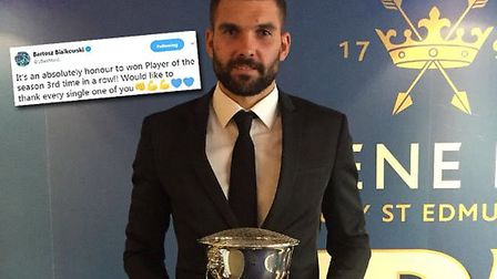 Bartosz Bialkowski has won the Ipswich Town Supporters' Player of the Year award is each of the last