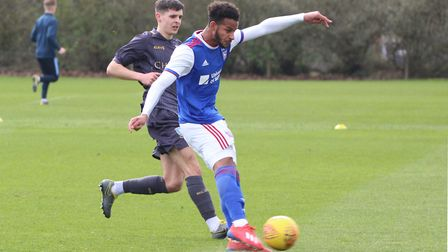 Barry Cotter scores the opening goal for Town U23s against Sheffield Wednesday Picture: ROSS HALLS