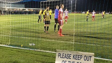 The sign says 'please keep out of the goal,' but Felixstowe ignored that to score three goals agains
