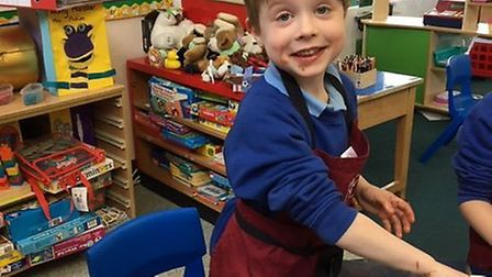 Xavien Dinnes, seven, has been educated at the Rushmere speeach and language centre which mum Kate d
