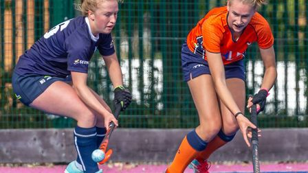 Mary Sacker, left, in action for Ipswich. Picture: CHRIS HOBSON