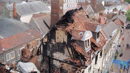 The destruction at Cupola House, in The Traverse, Bury St Edmunds, caused by fire. Picture: Mariam G