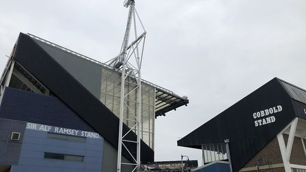 Portman Road under a grey cloudy sky this moring, March 28. Sunny spells may come to Suffolk and Ess
