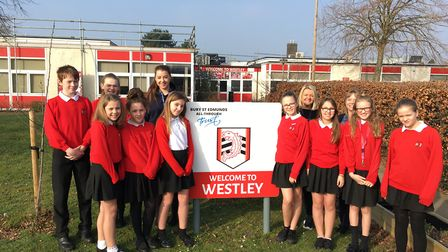 Young carers from Westley Middle School in Bury St Edmunds. They are pictured with Sheree Driver, a