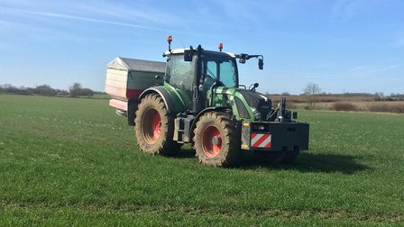 Fertiliser being applied to the field Picture: BRIAN BARKER
