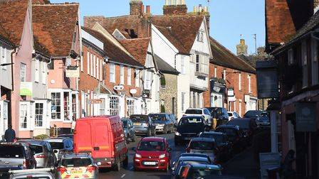 A busy Lavenham High Street. Babergh has been found to be the second happiest place in the UK Pictur