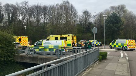 Emergency services in the car park at Tesco in Bury St Edmunds Picture: ARCHANT