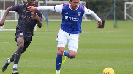 Emry Huws made his latest injury comeback for Ipswich Town's U23s on Tuesday. Photo: ROSS HALLS
