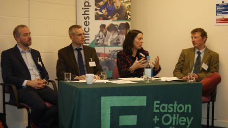 Tom Jewers, second from left, when he was guest speaker at an Easton and Otley College farmers' meet