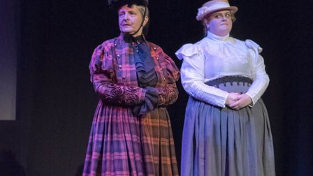 """Lynn Whitehead and Abigail Cameron-Laker playing """"Mrs Outraged"""" and """"Mrs Nunn"""" Picture: AARON WEIGHT"""