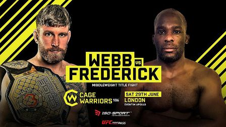 Colchester's James Webb will make the first defence of his middleweight title against Nathias Freder