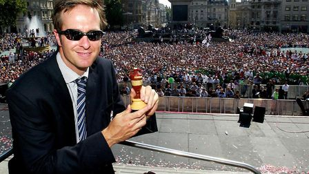 England's captain Michael Vaughan holds the Ashes in front of the crowds in Trafalgar Square, in 200