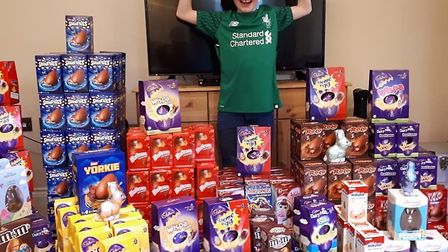 Blake Leonard, 10, from Long Melford, has collected nearly 500 Easter eggs for young carers in Suffo