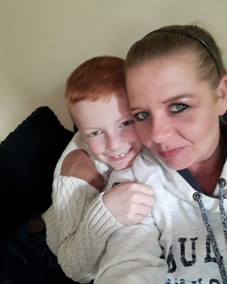 Blake Leonard and his mum Libby, who he cares for Picture: LIBBY LEONARD