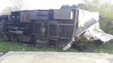 The lorry collided with the horsebox, which had broken down in the road near Rougham Picture: NSRAPT