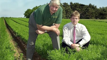 From left, Clem Tompsett , who was chairman, and William Burgess, managing director of Isleham Fresh