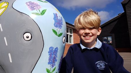 Fred with 'Waddles' the Dennington Primary School Elmer. Picture: RACHEL EDGE