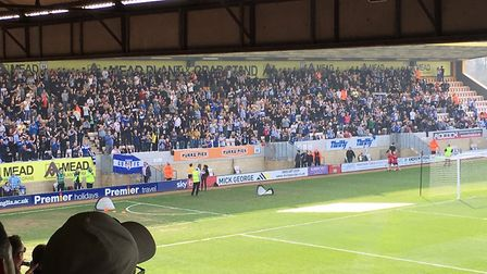 The view from the Cambridge United press box looking out towards the 1,119 Colchester United support