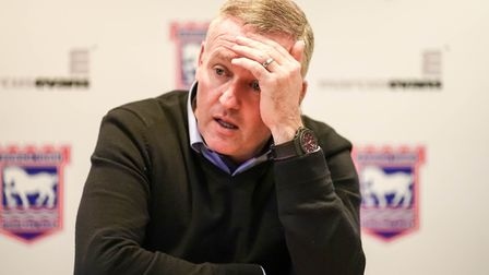 Paul Lambert's Ipswich could be relegated tonight. Picture: STEVE WALLER