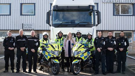 Police officers from Suffolk Constabulary along with a representative of Orwell Trucks following the