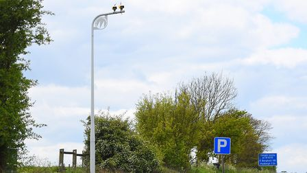 Average speed cameras on the A12 between East Bergholt and Stratford St Mary. New speed cameras will