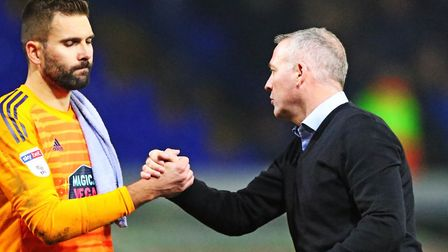 Ipswich Town manager Paul Lambert and Bartosz Bialkowski after the 2-1 defeat by West Bromwich Albio