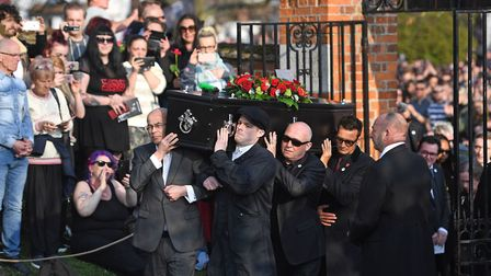 The coffin of Keith Flint is carried into St Mary's Church in Bocking, Essex Picture: Joe Giddens/PA