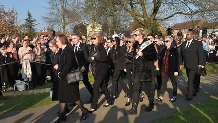 Keith Flint's Prodigy bandmate Liam Howlett (centre right) arrives at the funeral Picture: Joe Gidde