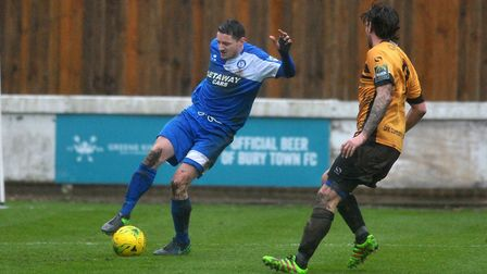 Ollie Hughes, who faces a fitness test ahead of Bury Town's trip to Barking. Picture: SARAH LUCY BRO
