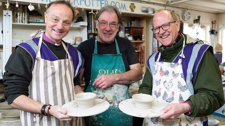 Potter Rob Wheeler with Bishops Mike Harrison and Martin Seeley Picture: KEITH MINDHAM PHOTOGRAPHY