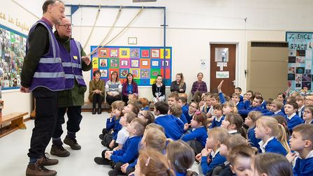 Bishops Mike Harrison and Martin Seeley joining pupils for assembly at Walsham le Willows CEVC Prima