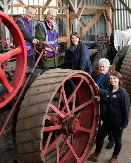 Museum of East Anglian Life director Jenny Cousins on the footplate of a steam engine with The Rt Re