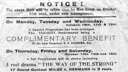 In October, 1921, the Southwold Picture Palace changed hands, and closed for four days �for cleaning
