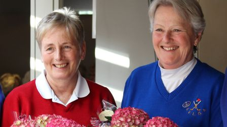 Winners from Diss from first tee: Jenny Chamberlin and Sandra Bowman. Photograph: CONTRIBUTED
